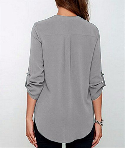 Frauen Sommer Chiffon T Shirt mit V Ausschnitt lange aermel lose Tops Bluse Shirt Grau