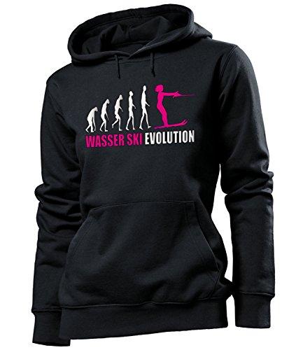 love-all-my-shirts Wasser Ski Evolution 4443 Wassersport Frauen Damen Hoodie Pulli Kapuzen Pullover Kapuzenpullover Sportbekleidung Fanartikel Schwarz Aufdruck Pink XL