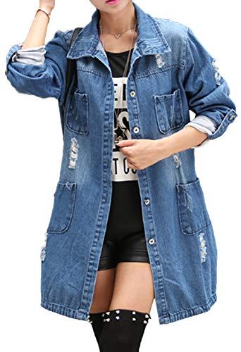 Scothen Damen Jacke Mantel Lange Jeansjacke talliert Denim Jacket Jeans Denim Jacke Blouson Übergangsjacke Mantel Outwear Trenchcoat Frühling Lange Cut Out OversizeJacke Jacken Denim Trenchcoat