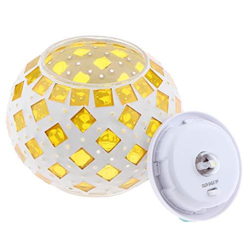 Homyl Solarlaterne Stimmungslicht Mosaik Night Light, Kugel Rund Form, Atmosphäre Werkzeug - Gelb