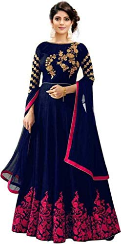 OWEE Women\'s banglori Silk Blue Semi-Stiched Anarkali Gown(Blue and pink_Free Size)