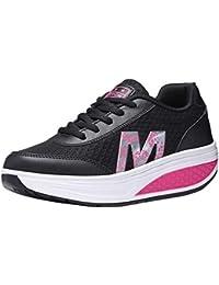 Gtagain Adelgazar Sneakers Zapatillas Plataforma - Malla Transpirable  Mujeres Entrenadores Cuñas Plataforma Moda Informal Cordones Rocker 879fa0847c5d