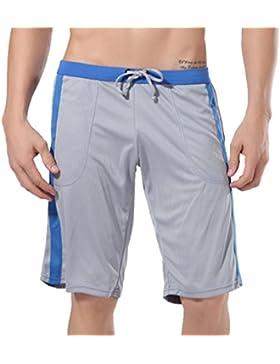 Honghu Hombre Loose Waist Rope Pantalones cortos Pant Tamaño M Gris
