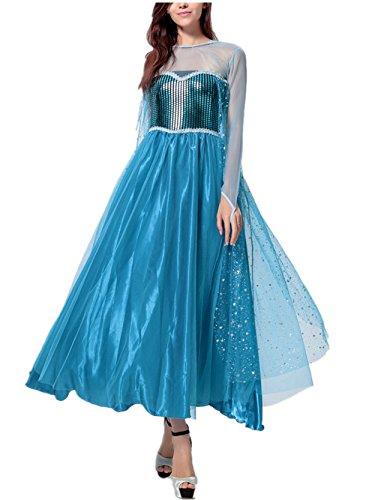 Cosplay Sama Maid Kostüm (Beunique® Damen Elegante Prinzessin Kleid mit warmer Stola Pailletten-Kleid Karneval Party Kostüm Cosplay)
