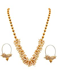 BFC- Pretty Pearl Designer Necklace Set With Bali Earrings Jewellery For Women And Girls