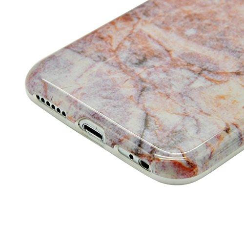 iPhone 6S Plus Marmor Hülle,iPhone 6 Plus Marble Case,Sunroyal Kreative Stylish Schickes Retro Elegant Schön Lila Gelb Achat Stein Pattern Silikon Handyhülle Weiß Stein Glamour Ultradünn Marble Malere Pattern 14