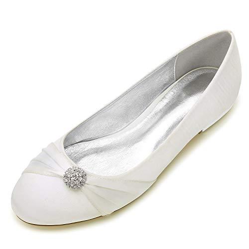 Zxstz scarpe da donna satin comfort ballerina scarpe da sposa tacco piatto punta tonda strass fiore di raso, avorio, 36