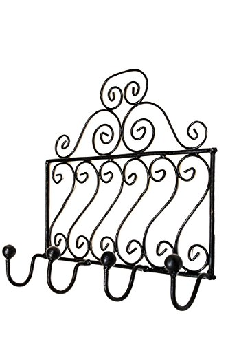 Vintage Garderobe Kleiderhaken Schwarz Mela Mittel 30cm groß 4er Haken | Hakenleiste Wandhaken für die Wand oder Tür | Kleiderhakenleiste Garderobenhaken aus Metall | handtuchhaken im Bad oder Küche