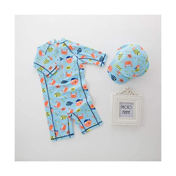 QIAODOUMADAI Summer Baby Boy Traje de baño + Sombrero 2 Unids Set Peces Mundo Marino Traje de baño Infant Toddler Kids… 2