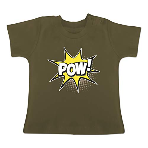Karneval und Fasching Baby - Popart Karneval Kostüm POW! - 18-24 Monate - Olivgrün - BZ02 - Baby T-Shirt ()