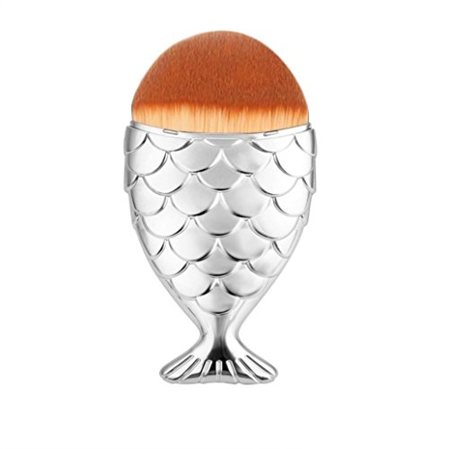 LONUPAZZ fish scale makeup brush fishtail brush poudre blush maquillage outils maquillage professionnel Argent