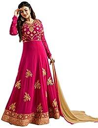 Kings Fashion Bazaar Women Georgette Anarkali Semi-Stitched Salwar Suit (GATMPU10685_Pink_Free Size)