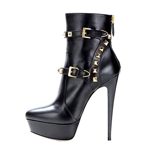 Onlymaker Damen Pumps Stiletto Kurzschaft Stiefel High Heels Boots Schuhe mit Plateau Nieten Schwarz EU41