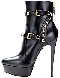 cc8b1e022719 Onlymaker Damen Pumps Stiletto Stiefel High Heels Kurzschaft Stiefelette  mit Plateau