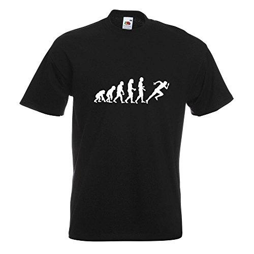 KIWISTAR - Evolution Läufer Sprint T-Shirt in 15 verschiedenen Farben - Herren Funshirt bedruckt Design Sprüche Spruch Motive Oberteil Baumwolle Print Größe S M L XL XXL Schwarz