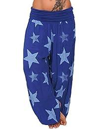 ITISME Jeanshosen Femme Automne Printemps Hiver Long Loose Pant Baggy Harem  De Plage Star Print Pantalon 95d699bdd38
