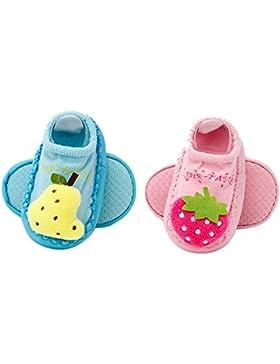 La Haute bebé niño zapatos calcetines 2pares antideslizante zapatillas de interior Cute Cartoon recién nacidos...
