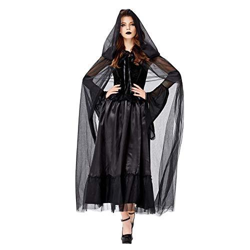 Kostüm Erwachsene Dunkel Für - JXJ Damen Schwarzer Vampir Umhang, Dunkle Hexe Kostüm für Halloween Cosplay Karneval für Erwachsene Party Kostüm (Langer Rock + Ärmel + Umhang),M