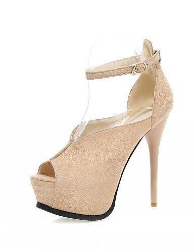 UWSZZ IL Sandali eleganti comfort Scarpe Donna-Sandali-Matrimonio / Ufficio e lavoro / Serata e festa-Spuntate-A stiletto-Finta pelle-Nero / Blu / Rosa / Rosso / Tessuto almond