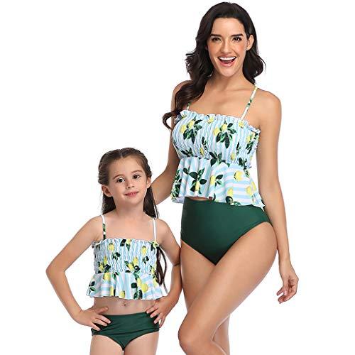 DQANIU Familien Bikini Set, Mutter und Tochter mit Blumenmuster Beachwear Sexy Zweiteiler Sling Badeanzug Passende Badebekleidung Family Beachwear