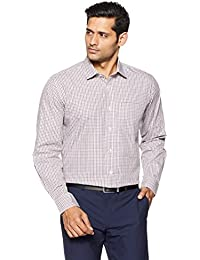 Symbol Amazon Brand Men's Checkered Regular Fit Cotton Formal Shirt