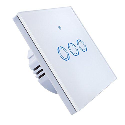 Wifi Lichtschalter Voice Control Schalter mit Fernbedienung Wandschalter Arbeitet mit Amazon Alexa und Google Home IOS/Android Timing Funktion Wasserdichter Wandschalter Smart Touch Schalter (3-Weg)
