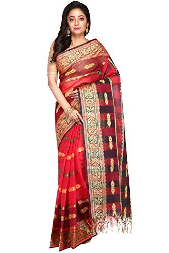 Madhushree Red & Black Handloom Cotton Tant Saree, Traditional Bengali Wear
