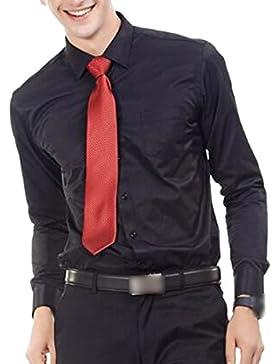 El Hombre Primavera Otoño Color Sólido Tamaño Grande Negocio Casual De Manga Larga Camisa