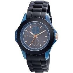 Pilgrim Women's Quartz Watch sort rem/blå skive 701334202 with Rubber Strap