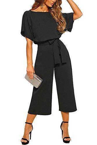 Aranmei elegante tuta da donna jumpsuit manica corta vita alta girocollo playsuit ampio gamba pantaloni con cintura (nero, large)