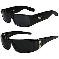 2er Pack Locs 9006 X11 Sonnenbrillen Unisex Herren Damen Männer Frauen Brille - 1x Modell 01 (schwarz glänzend / schwarz getönt) und 1x Modell 07 (schwarz glänzend - Square-Design / schwarz getönt) 2hNZwJblOl