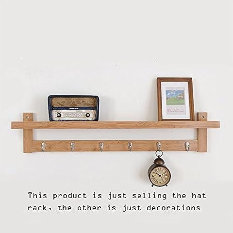 MEILING Simple Hanger Shelf Bamboo Matériau Blanc Bois Couleur Retro Couleur Coat Racks ( Couleur : Couleur du bois , taille : 6 hook )