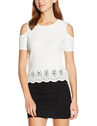 Quiz Pleated Cold Shoulder Cut Out, Top Donna Bianco (Cream)