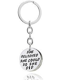 Mujer Chica Regalo Aleación De Plata She believed she could so she did colgante clave cadena anillo para familia amigo
