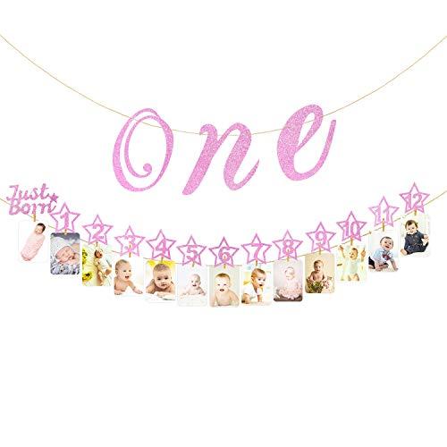 Hifot Baby 1. Geburtstag Dekoration mit Hochstuhl Glitter Gold Baby Party Dekoration, monatliche Meilenstein Baby Foto Bunting für Neugeborene bis 12 Monate ersten Geburtstag Dekor Set (Rosa)