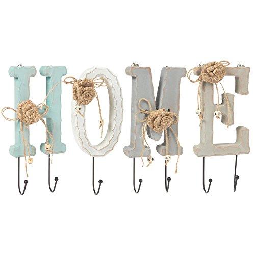 Home Buchstaben Holz Wandhaken Schienen Set mit 6Knöpfen–Charming Eisen Haken für Haushaltsartikel, Kleidung, Schlüssel