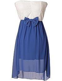 Fashion Moda Sommerkleid kurz Chiffon Minikleid Party Look mit Bandeau Ausschnitt & Kontrast Design