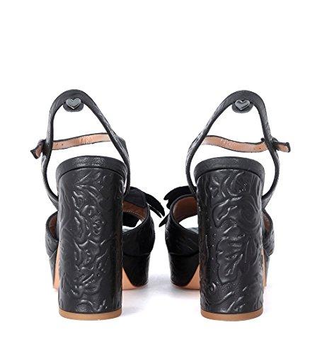 Sandalo Twin-Set tacco pelle pizzo nero Noir