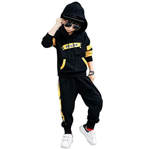PanpanBox Sportanzug Jungen Frühjahr Zweiteilig Anzug Kapuzenpullover und Sweathose Jogginghose Jugendliche Trainingsanzug Kapuzenshirt 3-11 Jahre (110#/ ~3-4 Jahre, Schwarz)