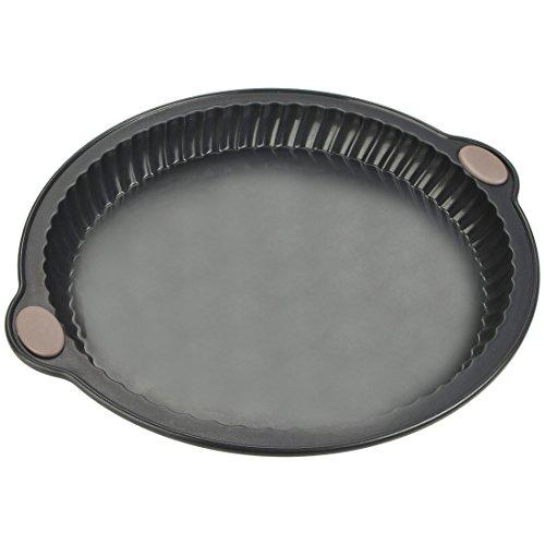 Levivo Tarteform / Quicheform aus Silikon mit guten Antihaft-Eigenschaften für einfaches Herausnehmen des Gebackenen, fettfrei nutzbare Kuchenform mit 26 cm Durchmesser, grau