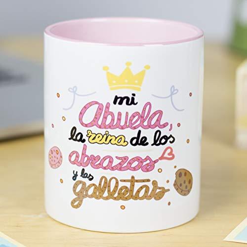 La Mente es Maravillosa - Taza frase y dibujo divertido'Mi Abuela es la reina de los abrazos y las galletas' Regalo para ABUELA