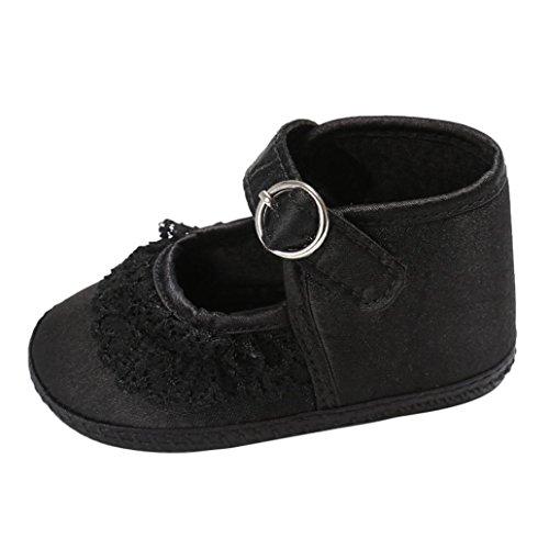 Saingace Bébé Bambin Chaussures à Crémaillère en Dentelle pour Fille Chaussures Antidérapantes (5.1inch/12-18mois, Blanc) Noir