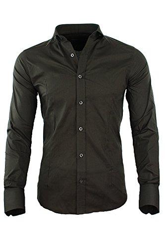 Redbridge by CIPO & BAXX Slim Fit Hemd Polo Shirt Kentkragen Polo R-2111 Verschiedene Farben Braun