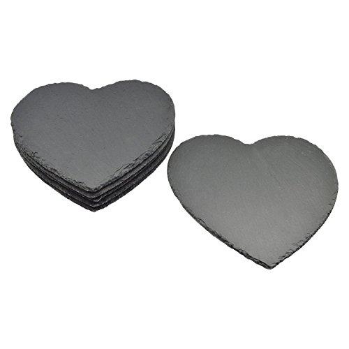 Sets de table en ardoise - naturel/en forme de cœur - lot de 6