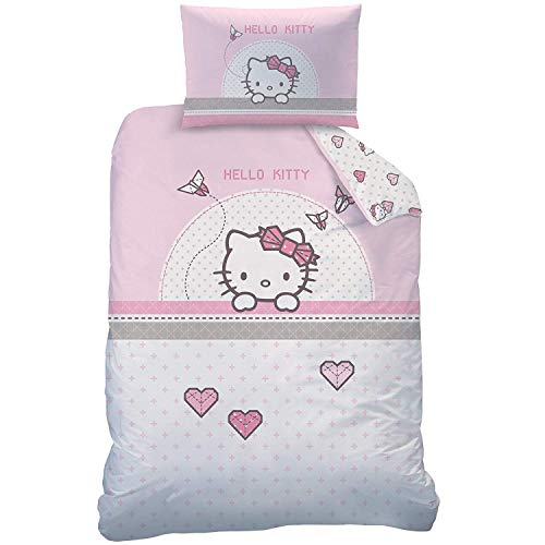 KK Hello Kitty Baby Bettwäsche rosa weiß 40 x 60 und 100 x 135 cm (Hello Baby Bettwäsche Kitty)