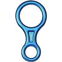 Anneau Rappel Figure 8, 2win2buy Super Figure 8 Anneau Rappel Descendeur Assureur Alpinisme Dispositif d'Assurage Aluminum pour Escalade Rappelling Secours 35KN-Bleu