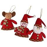 Lot de 3pcs Suspension Bonhomme de Neige Père Noël Renne Décoration Suspendue pour Sapin de Noël