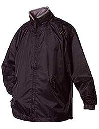 Mens Windbreaker jacket concealed hood full zip black showerproof