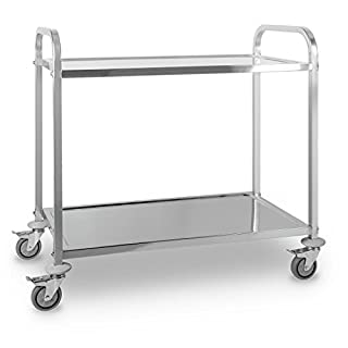 OneConcept The Great Gatsby Catering Trolley Cart 2 Shelves Stainless Steel