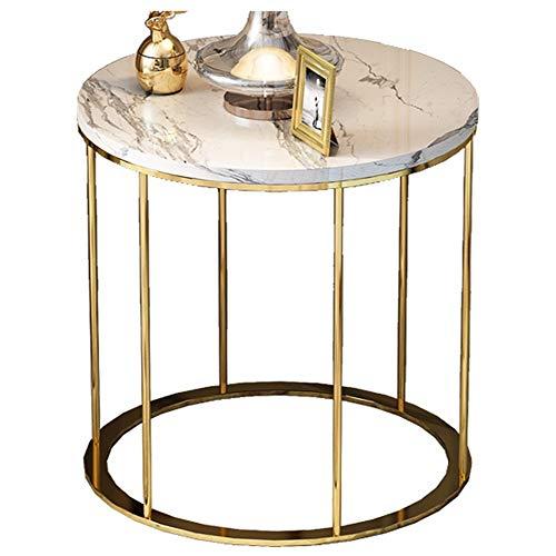 Salon Table Basse/côté canapé, mobilier créatif à la Maison Moderne en marbre, Rond, Blanc (50 × 50 × 55,5 cm)